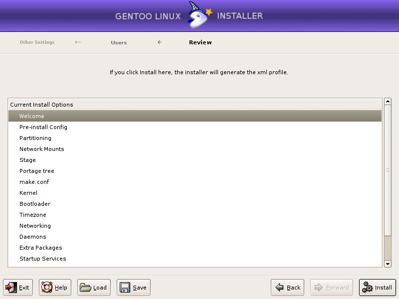 gentoo installer: